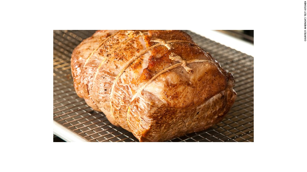"Roasts should always be taken out of the oven before they reach the desired degree of doneness. A phenomenon called ""carry-over cooking,"" in which the meat's exterior transfers heat to the cooler center, will cause the internal temperature of the roast to rise another 10 to 15 degrees."