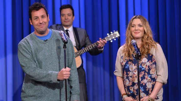 """As a young teen, Drew Barrymore entered rehab and documented her substance abuse in her book """"Little Girl Lost."""" She's now a successful producer, wife and mother. Here she performs with Adam Sandler on """"The Tonight Show Starring Jimmy Fallon"""" in February."""