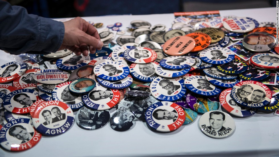 Vintage and modern Republican campaign buttons were available from a CPAC vendor.