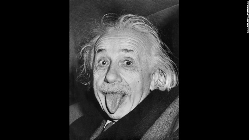 Albert Einstein sticks out his tongue on his 72nd birthday in 1951.