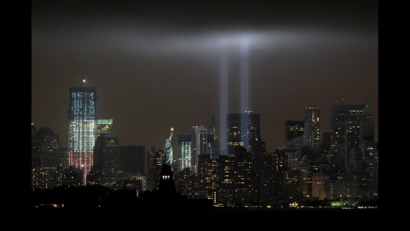 """The annual """"Tribute in Light"""" memorial echoes the twin towers of the World Trade Center on September 11, 2011."""