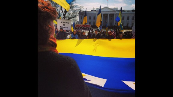 WASHINGTON, DC:  Ukrainian demonstrators rally on March 5 outside the White House against the Russian incursion into Crimea.  Photo by CNN's  Burke Buckhorn.  Follow Burke on Instagram at instagram.com/bbuckhorncnn