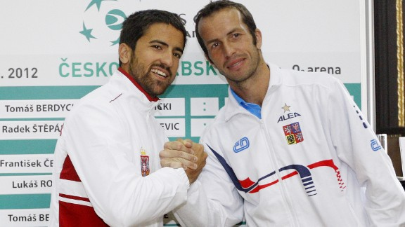Janko Tipsarevic, left, and Radek Stepanek were all smiles prior to their encounter in the Davis Cup in 2012. But after their singles match, Tipsarevic claimed Stepanek gave him the middle finger during the handshake.