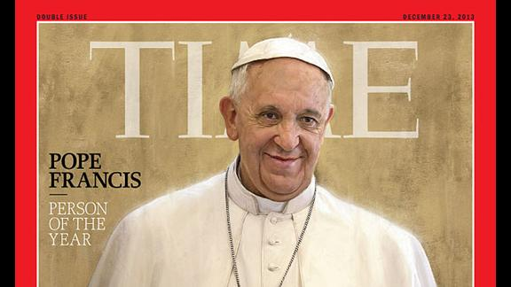 """In December, Time magazine named Pope Francis its Person of the Year, lauding him as """"the people's Pope."""""""