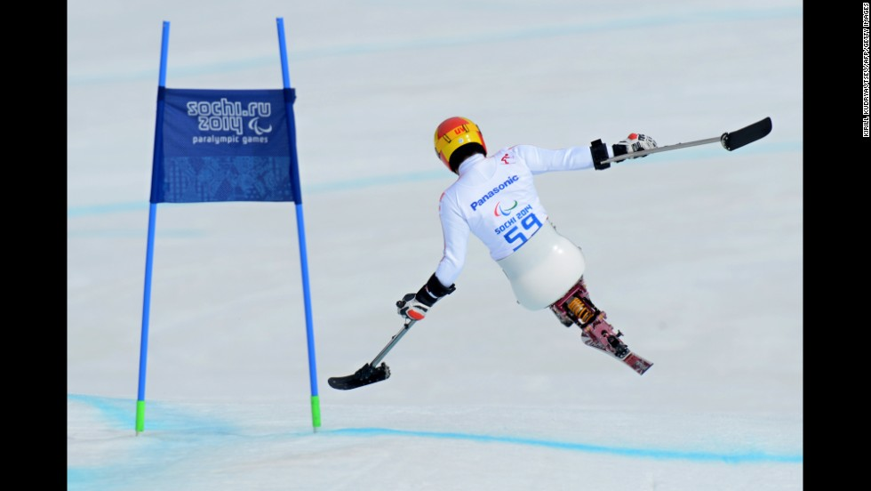 Japanese skier Takeshi Suzuki competes in the men's downhill on March 8.