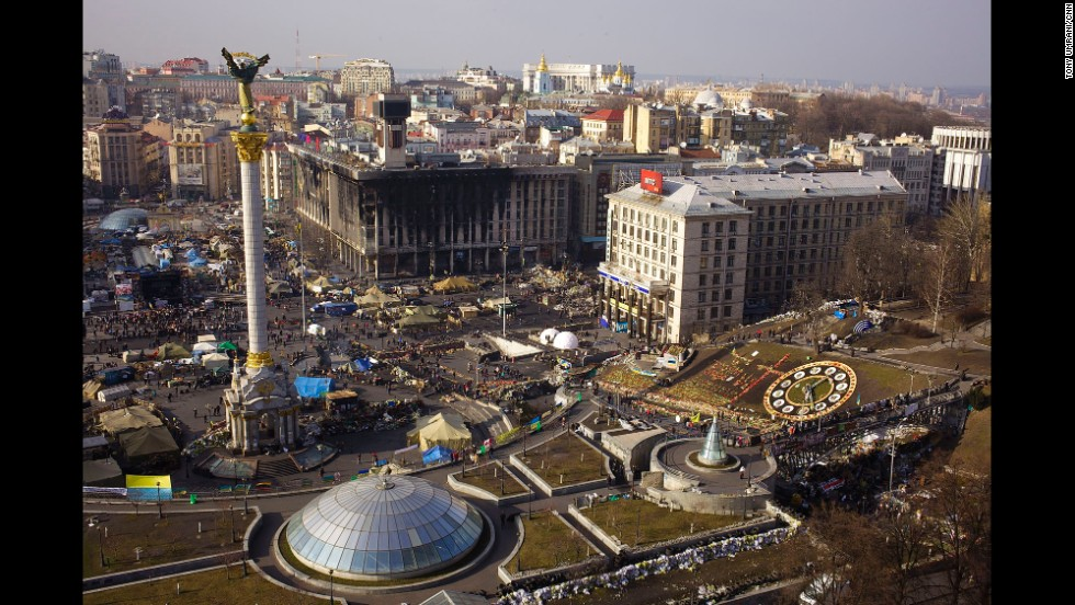 KIEV, UKRAINE:  An aerial photo of Independence Square, or Maidan, in Kiev on March 8.  Many remain camped out in Independence Square, while others stream through the area to pay tribute to those who were killed. Photo by CNN's Tony Umrani.