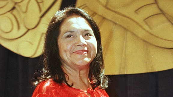 """Hispanic Heritage Award winner <a href=""""http://www.makers.com/dolores-huerta"""" target=""""_blank"""" target=""""_blank"""">Dolores Huerta</a> has fought to improve working conditions for farm workers. The Presidential Medal of Freedom honoree co-founded the organization that would become United Farm Workers in 1962."""