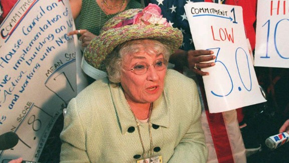 """U.S. congresswoman, lawyer and women's advocate <a href=""""http://jwa.org/womenofvalor/abzug"""" target=""""_blank"""" target=""""_blank"""">Bella Abzug was a national figure </a>who authored a bill to create the <a href=""""http://jwa.org/womenofvalor/abzug/spirit-of-houston"""" target=""""_blank"""" target=""""_blank"""">first National Women's Conference in 1977</a>."""