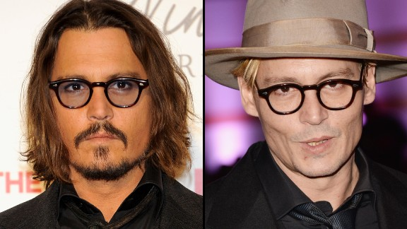 """Johnny Depp sports facial hair at the Madrid premiere of """"The Tourist"""" in 2010, and goes smooth this January at an event in Los Angeles."""