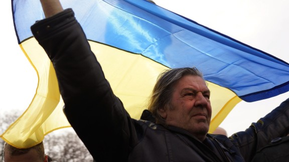 Supporters of Ukraine attend a rally in support of the Keeping Crimea a part of the Ukraine on March 9, 2014 in Simferopol, Ukraine.