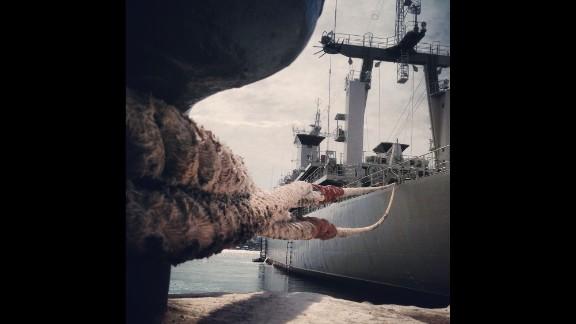SEVASTOPOL, UKRAINE:  The Ukranian Navy vessel Slavutych remains blocked by Russian Navy boats inside the Port of Sevastopol on March 10, photographed by CNN's Christian Streib.  Follow Christian on Instagram at instagram.com/christianstreibcnn.