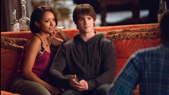 """""""The Vampire Diaries"""" features an interracial relationship between Bonnie, a good witch played by Kat Graham, and Steven R. McQueen's Jeremy."""
