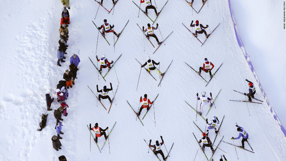 An aerial view shows cross-country skiers climbing a hill during the 46th Engadin Ski Marathon near the Swiss mountain resort of St. Moritz on Sunday, March 9.