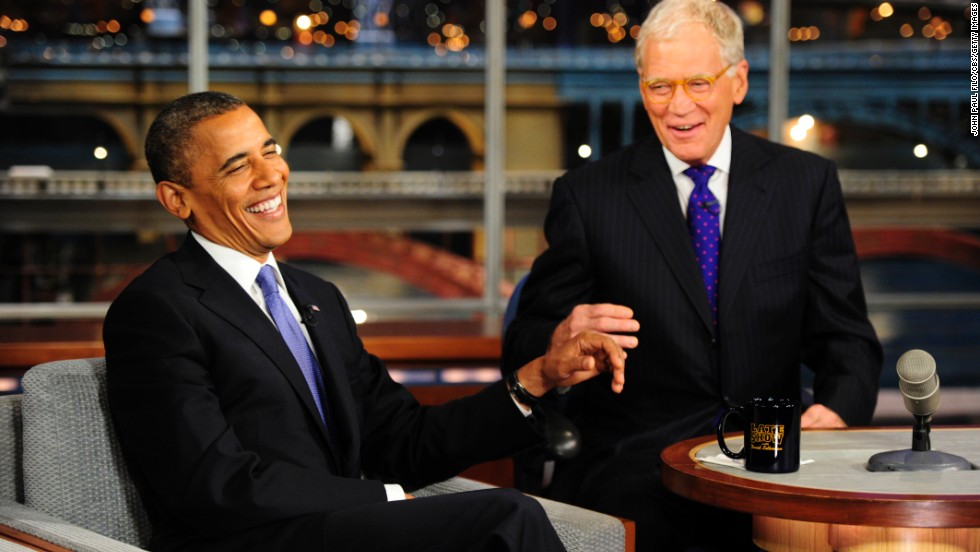 Obama joked with David Letterman during this September 2012 appearance but he also discussed the presidential campaign and the attack on the U.S. facility in Benghazi, Libya, in which four Americans, including the U.S. ambassador, were killed.