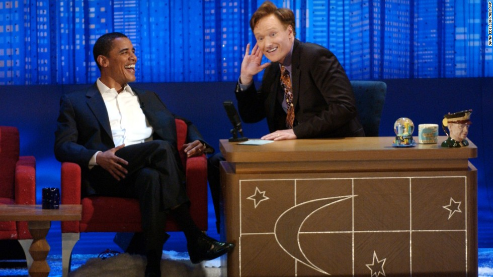 "Obama told then-""Late Night"" host Conan O'Brien that he was considering him as a running mate after O'Brien asked him about presidential plans during this May 2006 appearance."