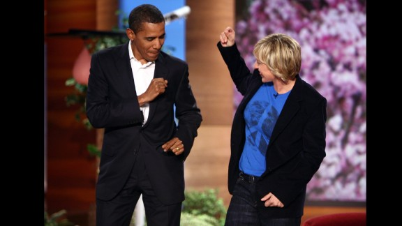 """Then-Sen. Barack Obama dances with Ellen DeGeneres on her show to the song """"Crazy In Love"""" in October 2007. """"It's a low bar but I am pretty sure I have better moves than Giuliani,"""" Obama joked, referring to the former New York mayor and onetime Republican presidential frontrunner."""
