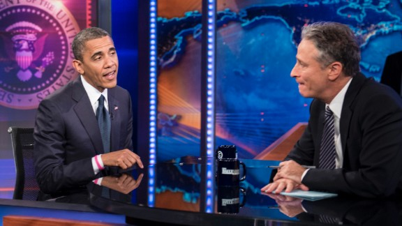 """Obama took a few jabs from the host over his lackluster first debate performance when he appeared on the """"Daily Show with Jon Stewart"""" on October 18, 2012, a month before the election."""