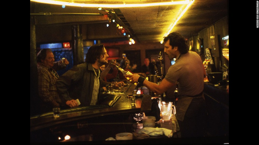 "Mickey Rourke plays an alcoholic based on poet Charles Bukowski (who wrote the screenplay) and Frank Stallone a bartender he frequently clashes with in the 1987 film ""Barfly."""