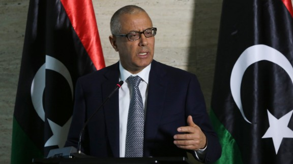 Libya's Prime Minister Ali Zeidan speaks during a news conference on March 8, 2014, in the capital, Tripoli.