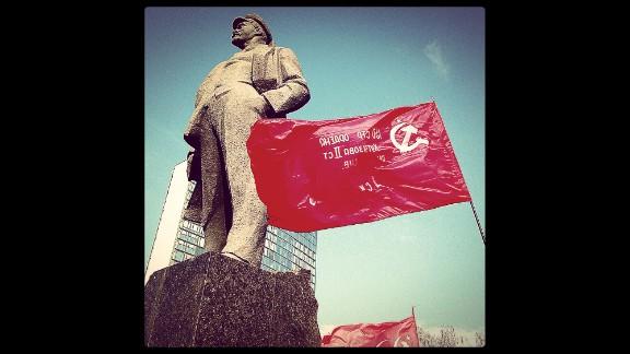 "DONETSK, UKRAINE: ""Dominating the main square named after him: Vladimir Ilyich Ulyanov, also known as Lenin"" - CNN's Christian Streib.  Follow Christian on Instagram at instagram.com/christianstreibcnn."