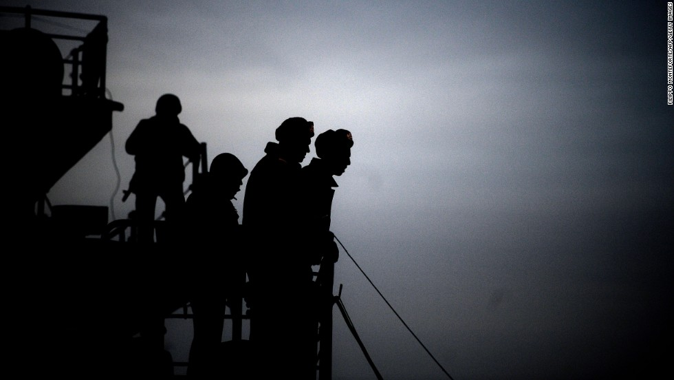 Soldiers are seen aboard the Ukrainian ship Slavutych in the harbor of Sevastopol on Tuesday, March 11.