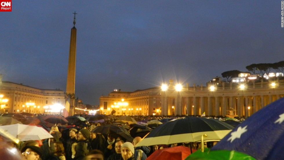 A crowd fills St. Peter's Square on the evening Francis was elected.