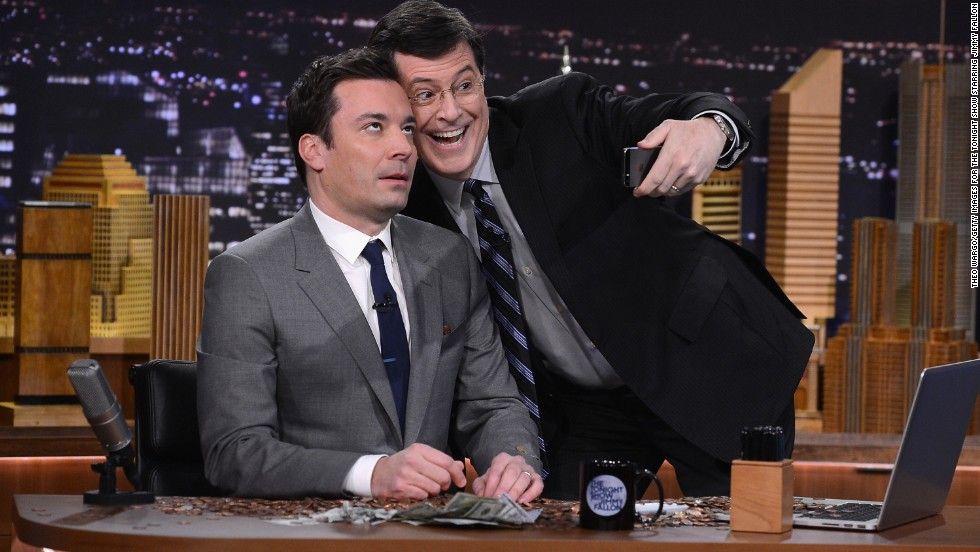 "Colbert faces a changed talk-show landscape. Jimmy Fallon, left, has gotten off to a fast start as new ""Tonight Show"" host on NBC, and ABC's Jimmy Kimmel also has a strong fan base."