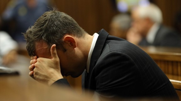 Oscar Pistorius reacts during his trial at the high court in Pretoria, South Africa, on March 13, 2014.