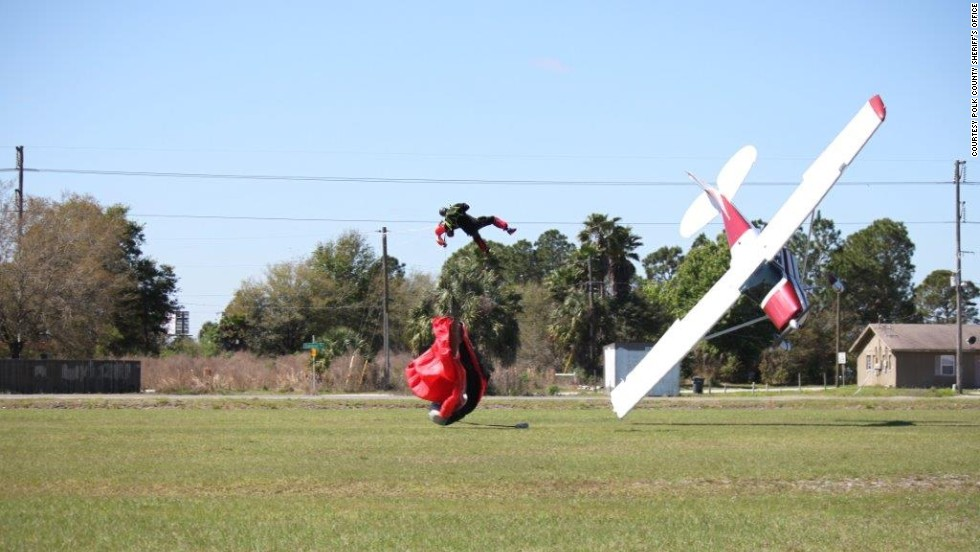 A small plane crashes after getting tangled with a skydiver in Mulberry, Florida, on Saturday, March 8. Neither the pilot nor the skydiver suffered serious injuries.