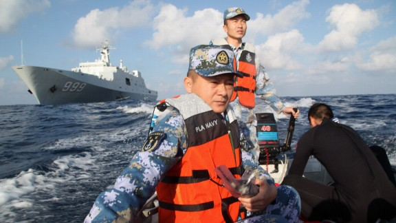 Members of the Chinese navy continue search operations on March 13, 2014. After starting in the sea between Malaysia and Vietnam, the plane