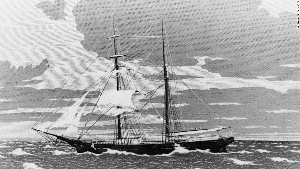 The twin-masted merchant vessel Mary Celeste set sail from New York on November 7, 1872, bound for Genoa, Italy. Its 10 passengers were not on board when it was found floating in the Strait of Gibraltar four weeks later. There were no signs of a struggle, and all of the boat's cargo was still on board. Its only lifeboat was missing.