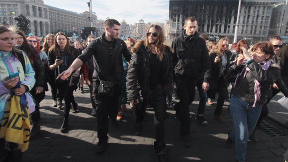 "Recent Academy Award winner Jared Leto walks through Independence Square in Kiev on March 13. During his Oscars acceptance speech in early March, the actor spoke to protesters in Ukraine and Venezuela saying, ""We"