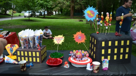 For Elyse's superhero themed 6th birthday party in July, all the decorations were made by hand and were inspired by hours of Pinterest scouring.