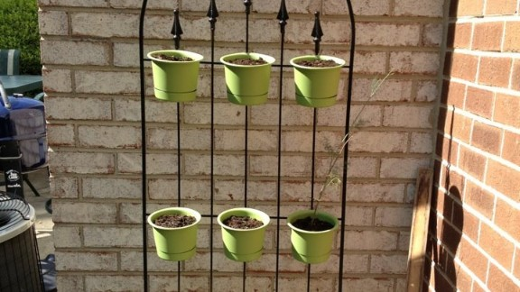 """A standing herb garden, inspired by several similar photos on Pinterest and assembled by Linzey's husband """"so that we can all enjoy some outside time. Anabelle's room has a sliding door that opens right into the garden, so it is easy for her to sit outside while we plant and tend."""""""