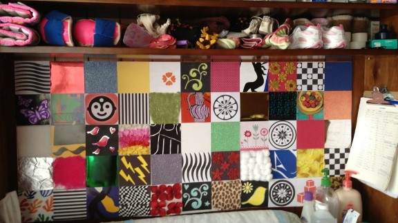 """Linzey made this visual stimulation board to use for visual therapy for Anabelle, who is legally blind. """"Inspired by similar boards posted on Pinterest as being for sale, I figured I could make one just as easily,"""" she said."""
