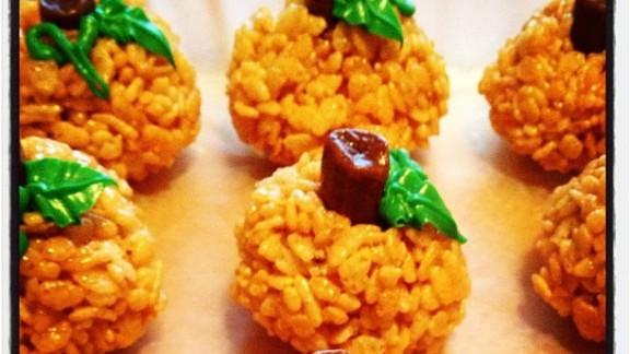 Pumpkin-shaped Rice Krispie treats for Elyse's preschool class a few years ago.