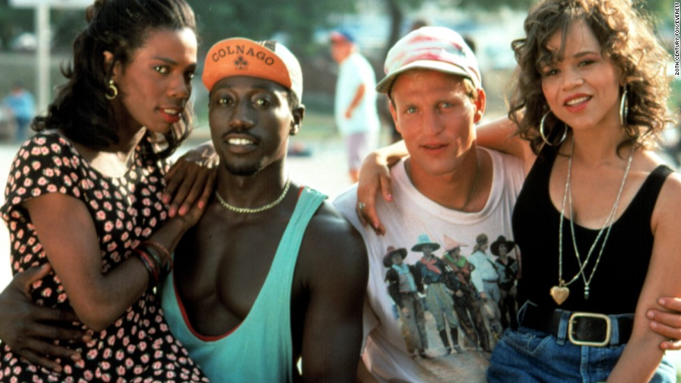 "Tyra Ferrell (from left), Wesley Snipes, Woody Harrelson and Rosie Perez starred in 1992's ""White Men Can't Jump."""
