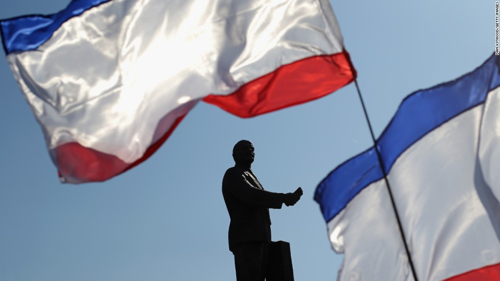 Russian flags wave in front of a monument dedicated to Soviet Union founder Vladimir Lenin during a pro-Russia rally in Simferopol's Lenin Square on March 15.