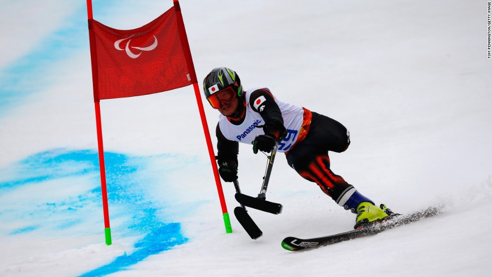 Hiraku Misawa of Japan competes in the men's giant slalom standing at the Sochi 2014 Paralympic Winter Games.
