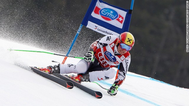Austrian skier Marcel Hirscher in action during the giant slalom at the World Cup Finals in Lenzerheide.
