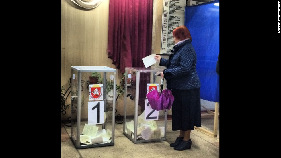"SIMFEROPOL, UKRAINE:   ""Voting has started in Crimea (March 16). Steady stream of voters at this polling station in the center of Simferopol."" - CNN's Dominique Van Heerden.  Follow Dominique on Instagram at <a href=""http://instagram.com/dominique_vh"" target=""_blank"">instagram.com/dominique_vh</a>."