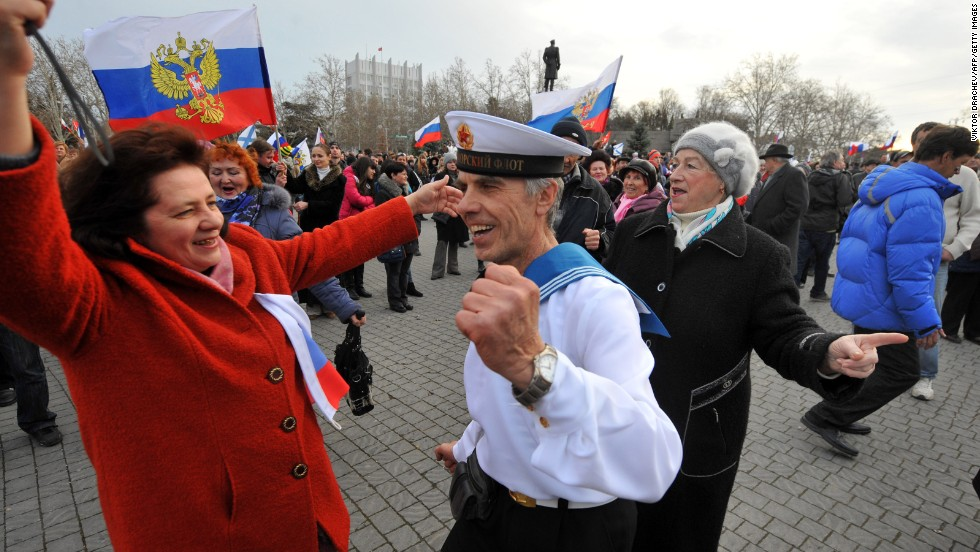Pro-Russian Crimeans dance as they celebrate in Sevastopol, Ukraine, on March 16.