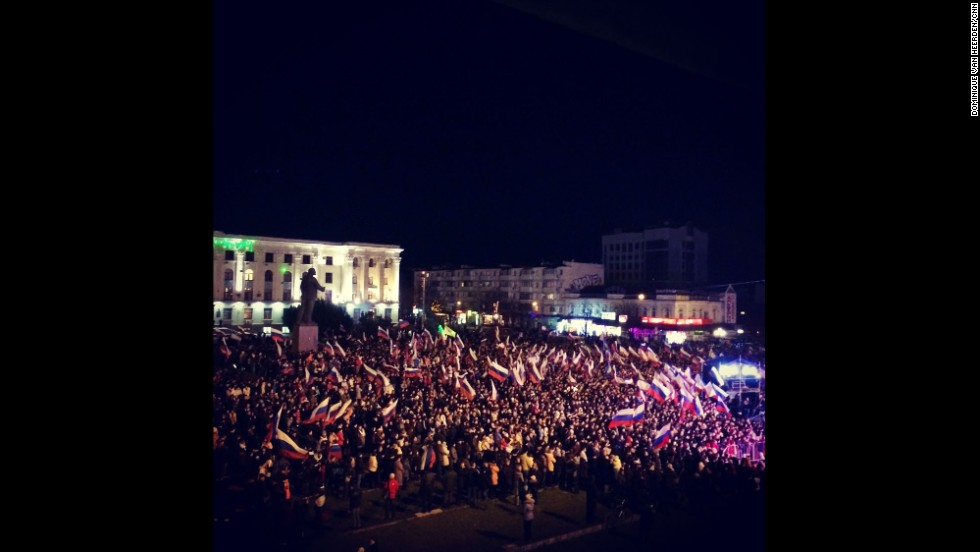 "SIMFEROPOL, UKRAINE:  ""Celebrations already well underway here in Lenin Square in Simferopol (March 16)."" - CNN's Dominique Van Heerden.  Follow Dominique on Instagram at <a href=""http://instagram.com/dominique_vh"" target=""_blank"">instagram.com/dominique_vh</a>."