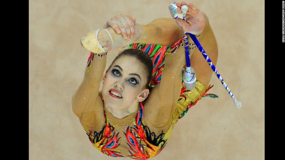 Russia's Elizaveta Nazarenkova performs Sunday, March 16, during the Rhythmic Gymnastics World Cup event in Debrecen, Hungary.