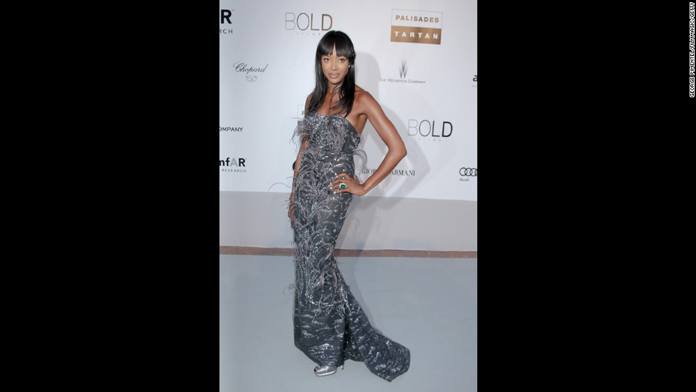 Model Naomi Campbell wears a silver L'Wren Scott dress at a gala in Antibes, France, in May 2010.
