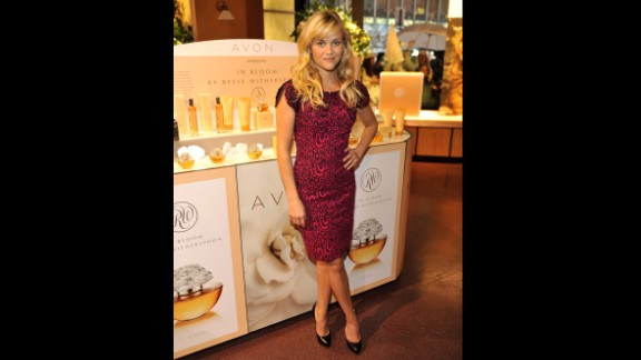 Actress Reese Witherspoon wears a L'Wren Scott dress for the launch of her new fragrance, In Bloom, in October 2009.
