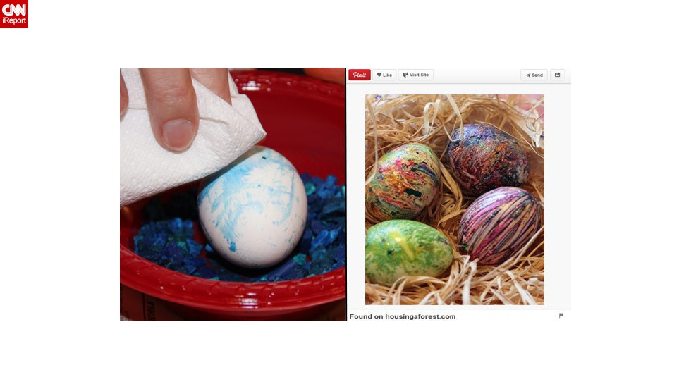 "Pinterest fail: It turns out that Brockett is not an ""egg-spert"" when it comes to dying Easter eggs. ""In an attempt to step outside the box last year, I read about using crayon bits and melting them onto the egg. The problem was, in order to have the ground crayons melt onto the egg, the egg needed to be hot ... not exactly a good idea with small fingers."""