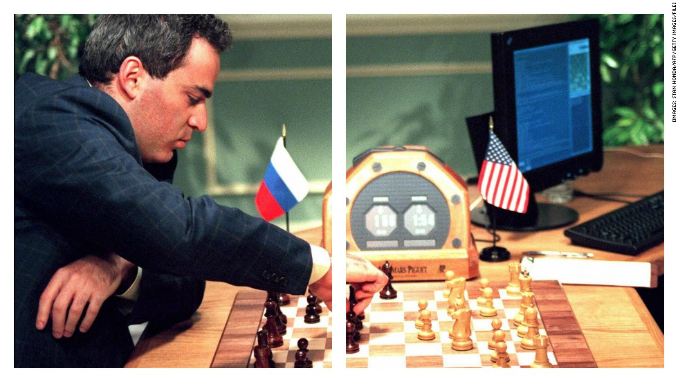 "<strong>ROUND TWO: CHESS</strong><br /><br />You've got to feel for chess grandmaster <a href=""http://www.kasparov.com/"" target=""_blank"">Garry Kasparov</a>. The Russian was ranked World Number One pretty much throughout his entire career -- from 1984 to 2006.<br /><br />And yet the only thing anyone ever seems to remember is when he competed against IBM computer <a href=""http://en.wikipedia.org/wiki/Deep_Blue_(chess_computer)"" target=""_blank"">""Deep Blue"" </a>in 1997 -- and lost. I mean give the guy a break, he won against the computer the year before.<br /><br />So let's call this one a draw.<br /><br /><em><strong>SCORE: Machine 2, Man 1</strong></em><br /><br />[Images: Stan Honda/AFP/Getty Images/File]"