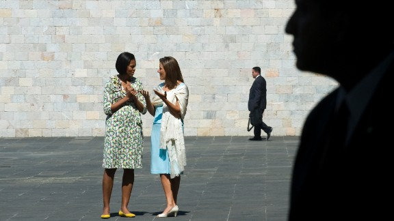 On her first solo trip in April 2010, Mrs. Obama traveled to Mexico City where she met with Mexican first lady Margarita Zavala and President Felipe Calderon.