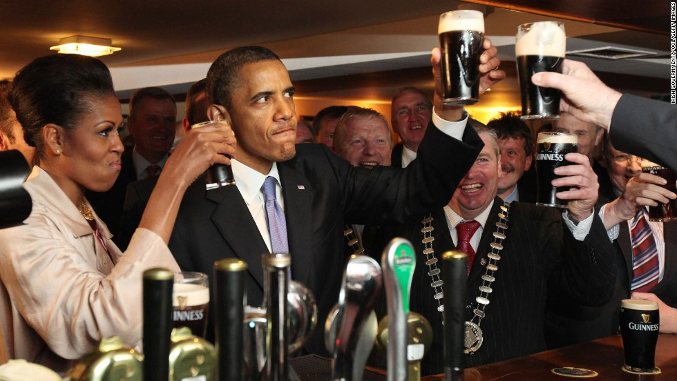 In May 2011, the Obamas visited Dublin. It was the first stop on a six-day trip to Europe. Here, the first couple enjoy glasses of Guinness at the President's ancestral home of Moneygall, Ireland, at the famous Ollie Hayes Pub.
